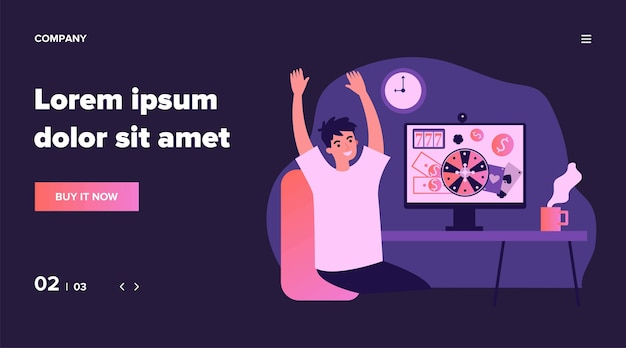 Happy young man celebrating jackpot. online casino winner, roulette, poker   illustration. gambling gain, winning money, prize concept for banner, website  or landing web page