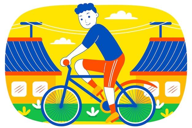타운 하우스에서 사이클링 행복 한 젊은 남자.