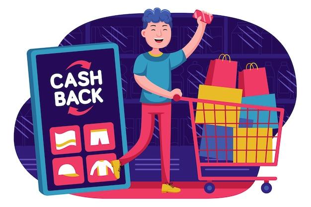 Счастливый молодой человек получает продвижение кэшбэка в супермаркете