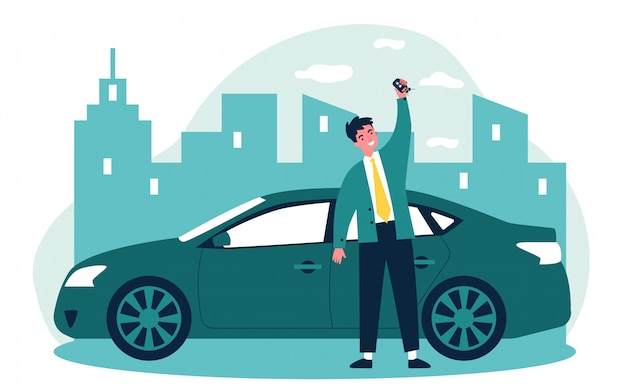 Happy young man leasing car   illustration