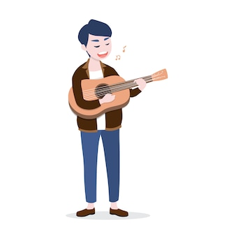 Happy young man playing the guitar and sing a song.