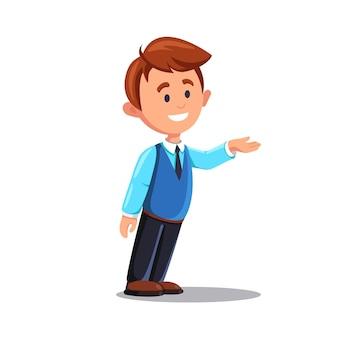 Smthを提示し、説明する幸せな若い男。ビジネスプレゼンテーション中に手で身振りで示す自信を持って笑顔のビジネスマン