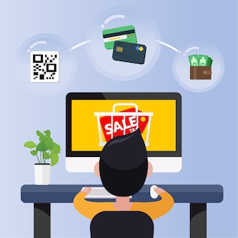 Happy young man sit in front computer with online sale promotion and cart icon