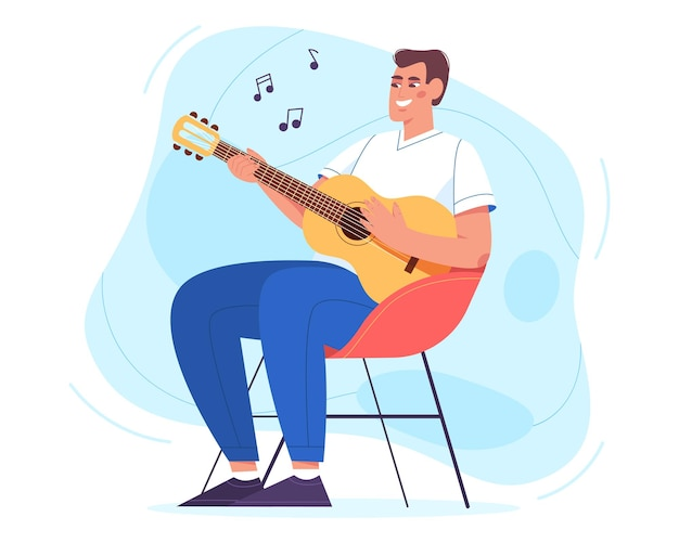 Happy young man sitting in armchair and playing guitar. hobby and relaxing weekend at home vector illustration in flat style. acoustic lessons. joyful guy holding musician instrument and singing song.