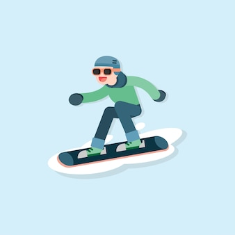 Happy young man skiing