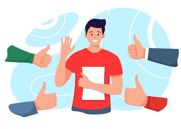 엄지 손가락과 박수 손으로 둘러싸인 행복 한 젊은 남자. 성공과 사회적 승인 및 수용 개념