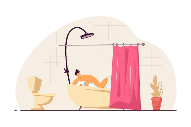 Happy young man taking bath. male cartoon character washing body in foamy bathtub with curtain flat vector illustration. personal hygiene concept for banner, website design or landing web page