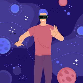 Happy young man with glasses for virtual reality explores space, concept of vr. interesting digital education, modern neon poster.