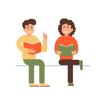 Happy young man and woman reading a book