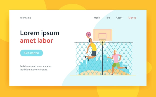Happy young men playing basketball on court landing page