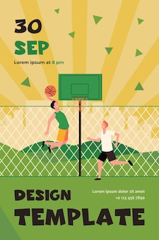 Happy young men playing basketball on court. two team players training at fence and throwing ball into basket. flyer template