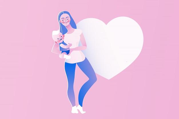 행복 한 젊은 엄마 또는 베이비 시터 개념 그림