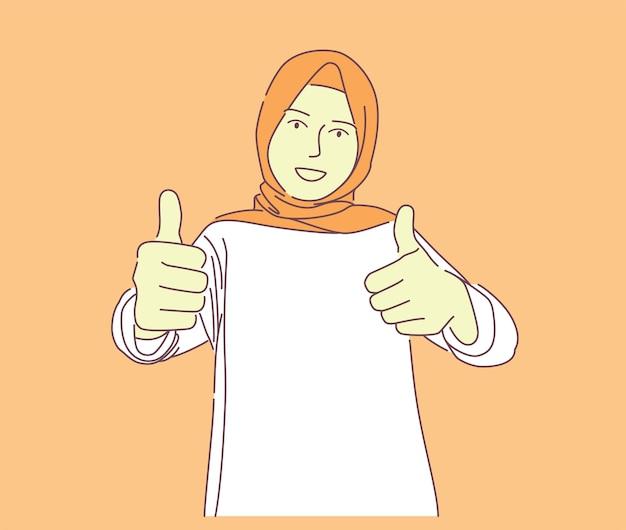 幸せな若いイスラム教徒の女性の笑顔と親指をあきらめるベクトル手描きイラストかわいい女性が好きを与える