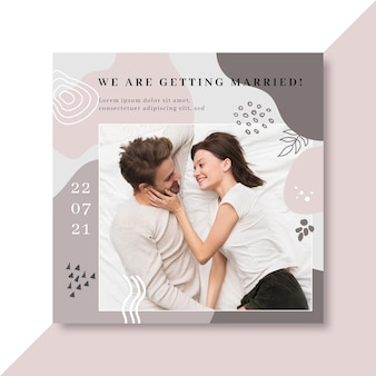 Happy young newlyweds square flyer