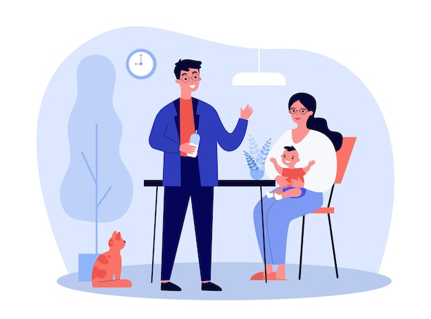 Happy young parents feeding baby at home. milk, cat, mother flat  illustration. parenthood and family concept
