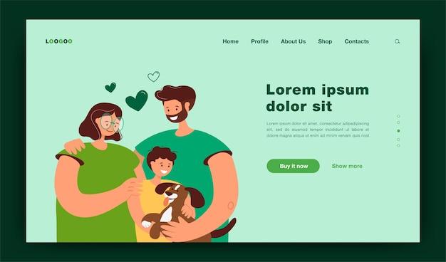 아이와 강아지 고립 된 평면 그림과 함께 행복 한 젊은 부모