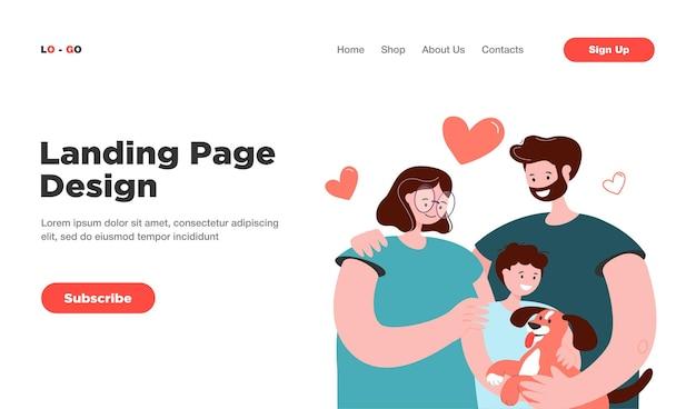 子供と犬の孤立したランディングページを持つ幸せな若い親