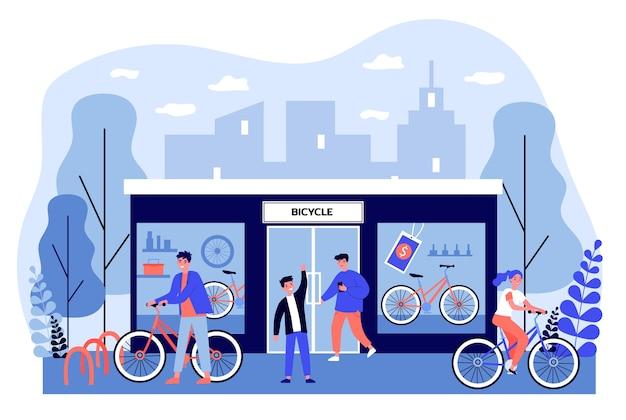 店で自転車を買って幸せな若者。ショップ、車両、ホイールのイラスト。バナー、ウェブサイトまたはリンク先のウェブページの交通と都市のライフスタイルのコンセプト Premiumベクター