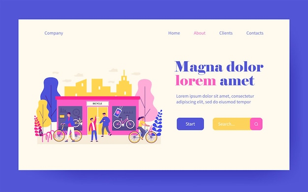 Happy young people buying bicycles in store. shop, vehicle, wheel flat vector illustration. transportation and urban lifestyle concept for banner, website design or landing web page
