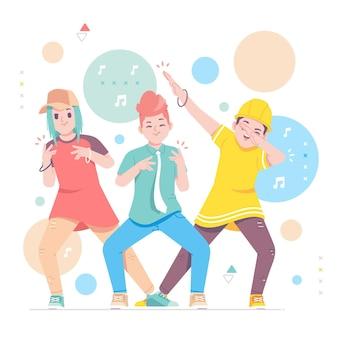 행복 한 젊은 사람들 춤 캐릭터 일러스트