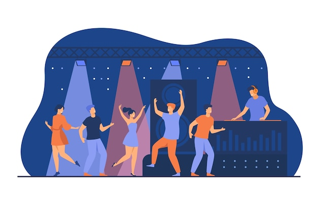 Happy young people dancing in club isolated flat vector illustration. cartoon characters enjoying dance at disco night party. dj scene performance and entertainment concept