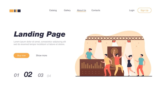 Happy young people dancing in club isolated landing page template