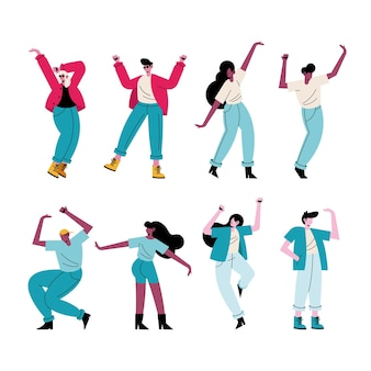 Happy young people dancing eight characters  illustration