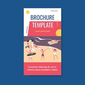 Happy young people enjoying leisure on beach brochure template