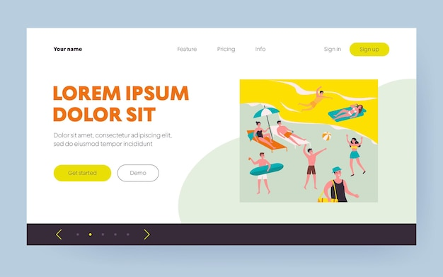 Happy young people enjoying leisure on beach. crowd, tourist, sea, seaside flat vector illustration. summer activities, vacation concept for banner, website design or landing web page