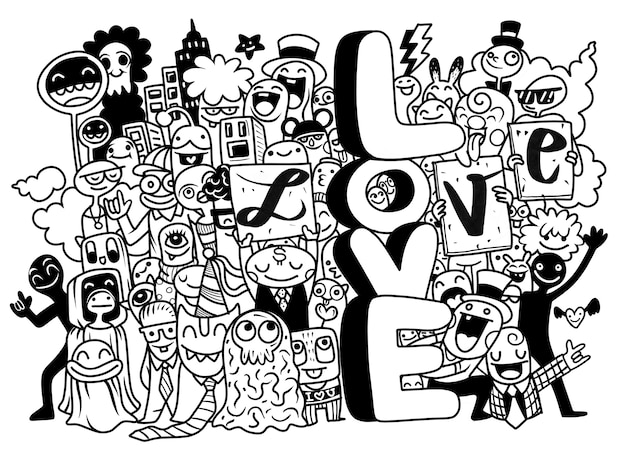 Happy young people holding letters love black and white illustration