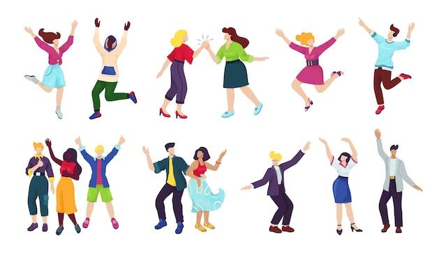 幸せな若い人たちは、イラストの白いセットを分離しました。幸福、自由、運動、多様性、そして人々が共に働くコンセプト。ジャンプ、楽しいポーズをとって幸せな笑顔の男性と女性のグループ。