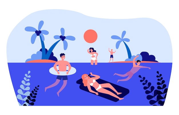 Happy young people swimming in sea. sun, water, palm tree   illustration. summer activity and vacation concept for banner, website  or landing web page