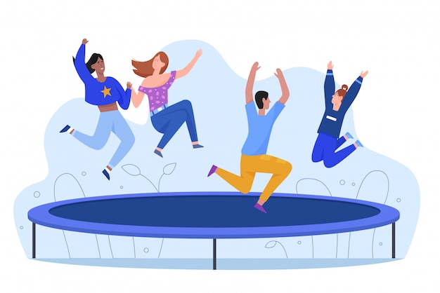 Happy young people at trampoline character flat illustration, active rest, lifestyle concept. friends jump and bounce at entertainment outdoor. sport training, leisure industry, free time
