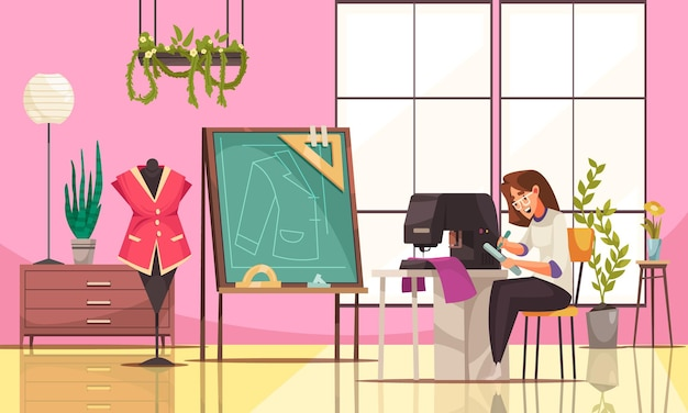 Happy young seamstress using sewing machine in modern studio cartoon illustration