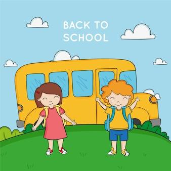 Счастливые молодые студенты и желтый школьный автобус