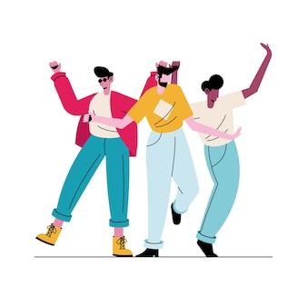 Счастливые молодые три мальчика аватары персонажей иллюстрации