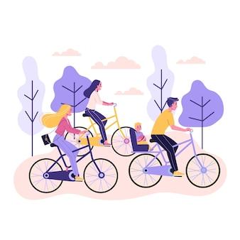 幸せな若い女と男は自転車の側面図に乗る。健康的でアクティブなライフスタイル。自転車の女の子。漫画のスタイルのイラスト