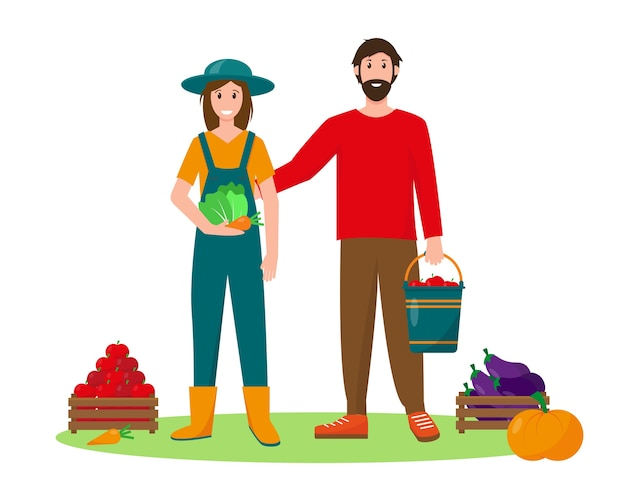 Счастливая молодая женщина и мужчина с овощами. концепция садоводства, сбора урожая или сельского хозяйства