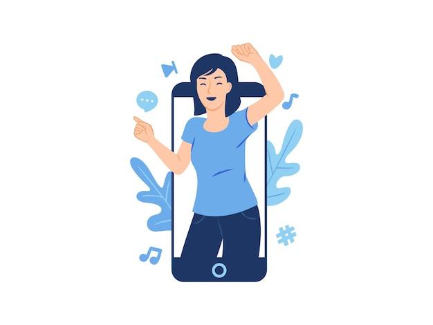 전화 화면 개념 그림에서 터지는 춤 행복 한 젊은 여자