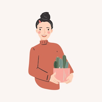Happy young woman hold pots with cactus. vector illustration.