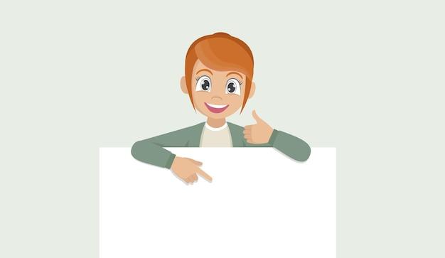Счастливая молодая женщина, держащая бланк