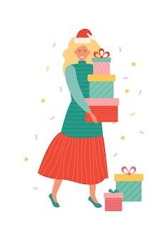 ギフトボックスの山を運ぶサンタの帽子で幸せな若い女性。ポジティブな感情を持っているプレゼントを保持している漫画の女性キャラクター。新年とクリスマスのお祝い。手描きイラスト