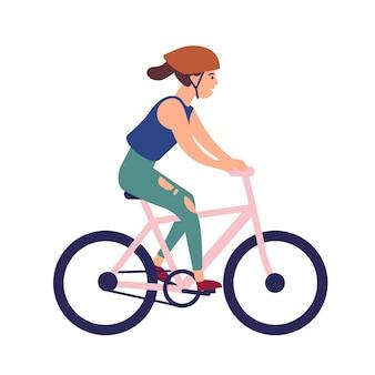 自転車に乗ってヘルメットの幸せな若い女性。白い背景で隔離の自転車の笑顔の女性キャラクター。スポーツレースに参加する自転車。フラット漫画スタイルのカラフルなベクトルイラスト。
