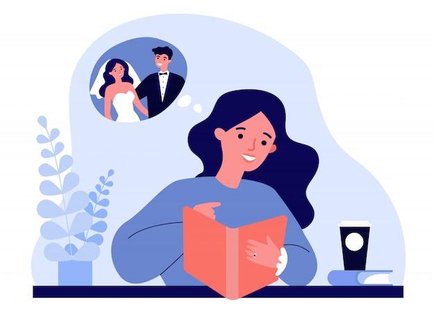 彼女の結婚式を計画して幸せな若い女