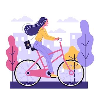 幸せな若い女は自転車の側面図に乗る。健康的でアクティブなライフスタイル。自転車の女の子。漫画のスタイルのイラスト