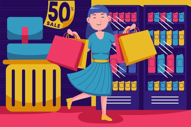 Счастливая молодая женщина, делающая покупки в супермаркете