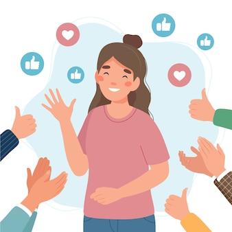 Счастливая молодая женщина, окруженная руками с большими пальцами руки и аплодирующими