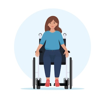 Happy young woman in a wheelchair. vector illustration in flat style