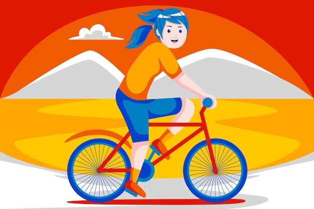 Happy young woman with bicycle with mountain view.