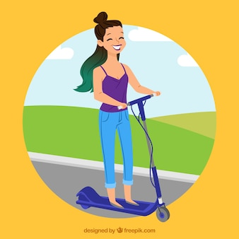 Happy young woman with electric scooter